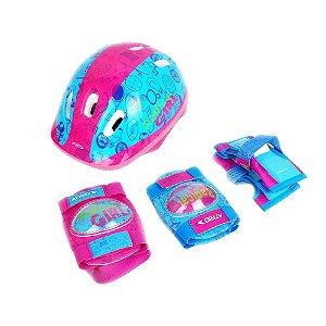 Kit de Proteção Infantil Radical Girl com Capacete Cotoveleiras Joelheiras e Luvas