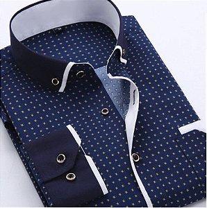 Camisa Masculina Casual Manga Longa Estampada