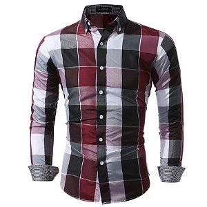 Camisa Masculina Casual Slim Fit Xadrez