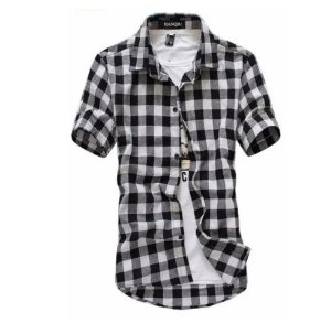 Camisa Masculina Casual Manga Curta Xadrez