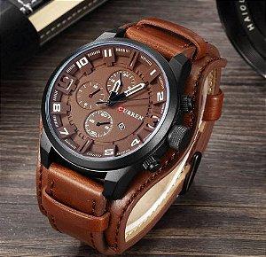 Relógio Masculino Curren Luxo Pulseira de Couro
