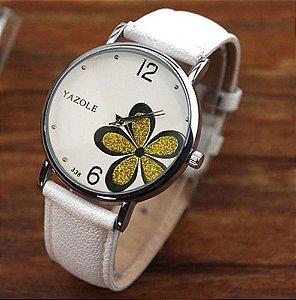 Relógio Feminino Yazole Pulseira Branca