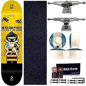 Skate Profissional Completo Cisco Skate Herói dos Pivetes 8.0 Silver