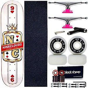 Skate Completo Maple Nineclouds 8.0 King + Roda Moska + Truck Intruder Pink