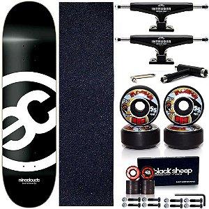 Skate Completo Maple Nineclouds 8.0 Blackout + Roda Moska + Truck Intruder