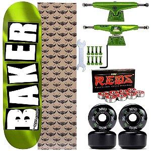 Skate Completo Shape Maple Baker Brand 8.25 Green + Truck Intruder 149mm + Rodas Bones
