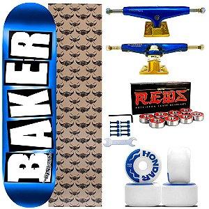 Skate Completo Shape Maple Baker Brand 8.25 Blue + Truck Intruder 149mm + Rodas Hondar