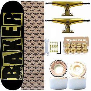 Skate Completo Shape Maple Baker Brand Gold 8.0 Black + Truck Intruder 139mm + Rodas Hondar