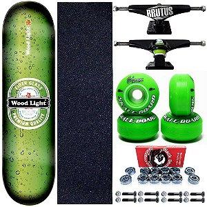 Skate Profissional Completo 8.0 Premium Wood Light Roda Green
