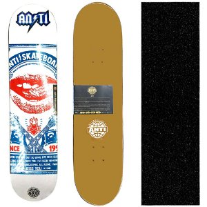 Shape para Skate Profissional Anti Action Marfim 8.0 Rock + Lixa de Brinde