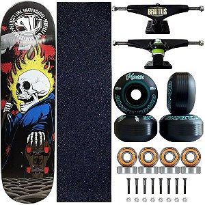 Skate Profissional Completo Shape Perfect Line Phantomas 8.0 Roda Black