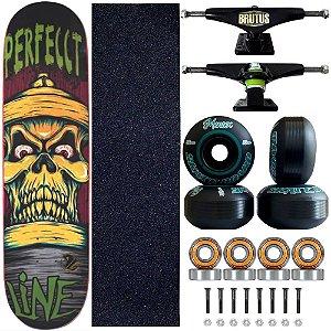 Skate Profissional Completo Shape Perfect Line Skull 8.0 Roda Black