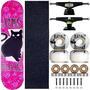 Skate Montado Miss Black Cat Pink Profissional 8.0 Feminina
