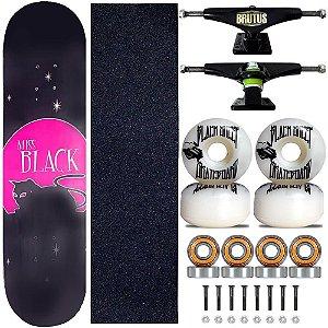 Skate Montado Miss Black Cat Moon Profissional 8.0 Feminina