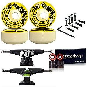 Roda Black Sheep 53mm Tub + Truck Brutus Black 139mm + Rolamento Black + Parafusos