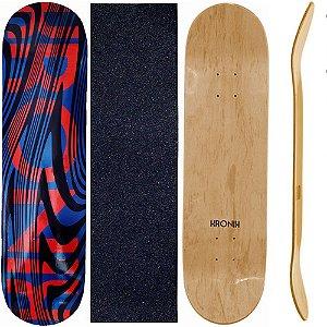 Shape de Skate Profissional 8.0 Kronik Blue Lines + Lixa de Brinde