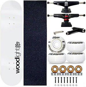 Skate Profissional Completo Shape Wood Light 8.0 Branco Truck Fun Light