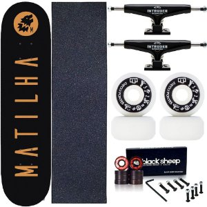 Skate Completo Profissional Shape Maple Matilha 8.0 Black Truck Intruder Black