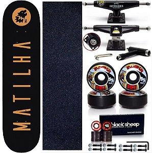 Skate Completo Profissional Shape Maple Matilha 8.0 Blackout Truck Intruder