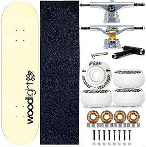 Skate Profissional Completo Shape Wood Light 8.0 Bege Truck City Line