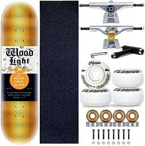Skate Profissional Completo Shape Wood Light 8.0 Gold Truck City Line