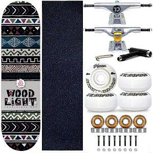 Skate Profissional Completo Shape Wood Light 8.0 Tribos Truck City Line
