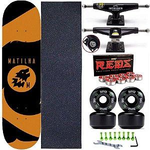Skate Completo Shape Maple Matilha 8.0 + Truck Intruder + Rolamentos Rodas Bones