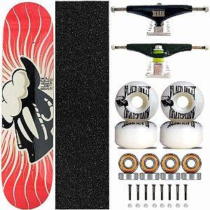 Skate Completo Black Sheep Profissional Chamas Truck Stick Skate Black
