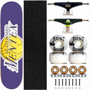 Skate Completo Profissional Shape Mentex 8.0 Lakers Truck Stick Skate Black