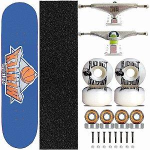 Skate Completo Profissional Shape Mentex 8.0 Basket Blue Truck Stick Skate Black