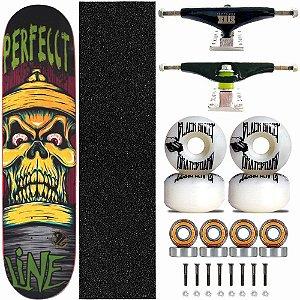 Skate Completo Profissional Shape Perfect Line 8.0 Skull Truck Stick Skate Black