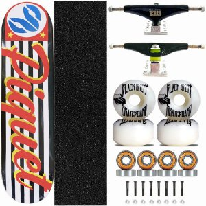 Skate Profissional Completo Paulo Piquet Shape 8.0 Cisco SP Truck Stick Skate Black