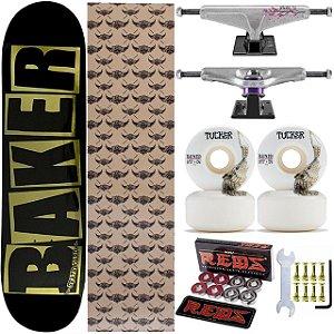 Skate Completo Shape Maple Baker Black Brand 8.0 Foil + Rolamentos e Rodas Bones + Truck Venture Yuto