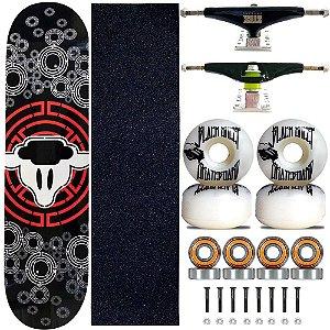 Skate Completo Black Sheep Profissional Mira Truck Stick Skate Black