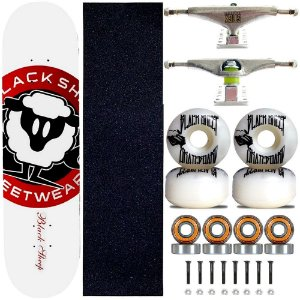 Skate Completo Black Sheep Profissional Logo Branco Truck Stick Skate