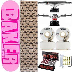 Skate Completo Shape Maple Baker Brand Pink 8.0 Foil + Rolamentos e Rodas Bones + Truck Thunder Ishod