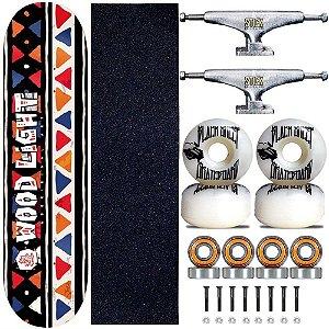 Skate Profissional Completo Shape Wood Light 8.0 Tribos Truck Stick Skate Prata
