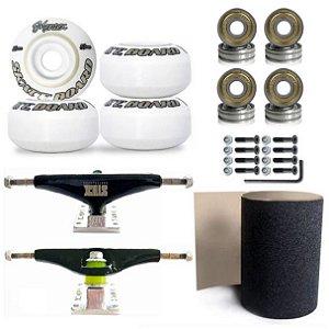 Rodas Mentex 53mm + Truck Stick Skate 139mm + Rolamento Abec-5 + Lixa + Parafusos