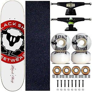 Skate Montado Black Sheep Profissional Logo Branco