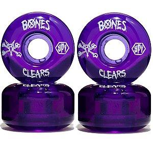 Roda Bones Original SPF Clears 58mm cor Purple ( jogo 4 rodas )