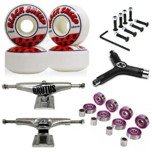 Truck Brutus 139mm + Roda Importada 54mm Black Sheep + Chave + Abec 7 + Parafusos
