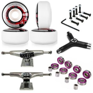 Roda Next Max 55mm + Truck Brutus 139mm + Chave + Abec 7 + Parafusos