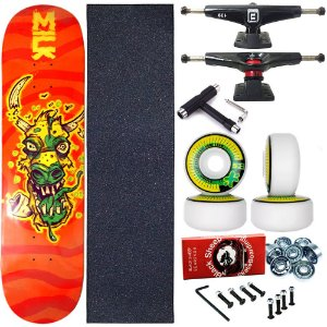 Skate Completo Profissional Shape Maple Milk Crazy 8.0 + Chave T
