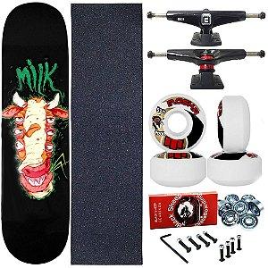Skate Completo Profissional Shape Maple Milk Allien 8.0 + Roda Moska 53mm