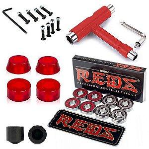 Rolamento Reds Bones + Amortecedor Venture Importado + Parafusos + Chupetas + Chave