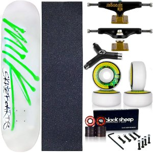 Skate Completo Profissional Shape Maple Milk White 8.0 BS Black + Chave Y