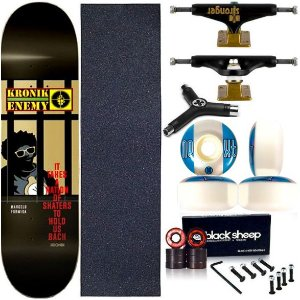 Skate Completo Profissional Shape Maple Kronik Enemy 8.0 BS Black + Chave Y