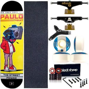 Skate Completo Profissional Maple Cisco Black Panther 8.0 Truck Stronger + Chave Y