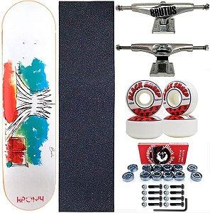 Skate Completo Shape 8.0 Kronik Art Aquarela + Roda Importada 54mm BS Red