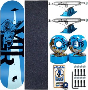 Skate Completo Maple Milk Beto Janz Blue 8.0 + Rolamento Andalé + Roda Bones + Truck Stronger